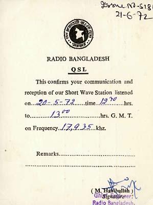 qsl radio bangladesh