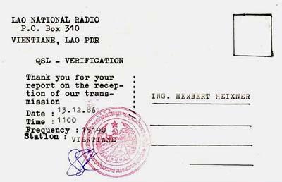 qsl national radio laos bestätigung
